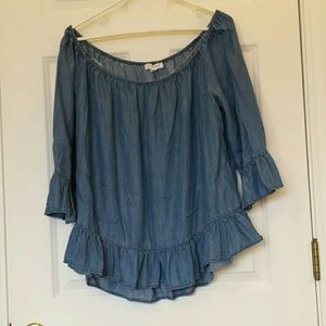 Off shoulder denim blouse
